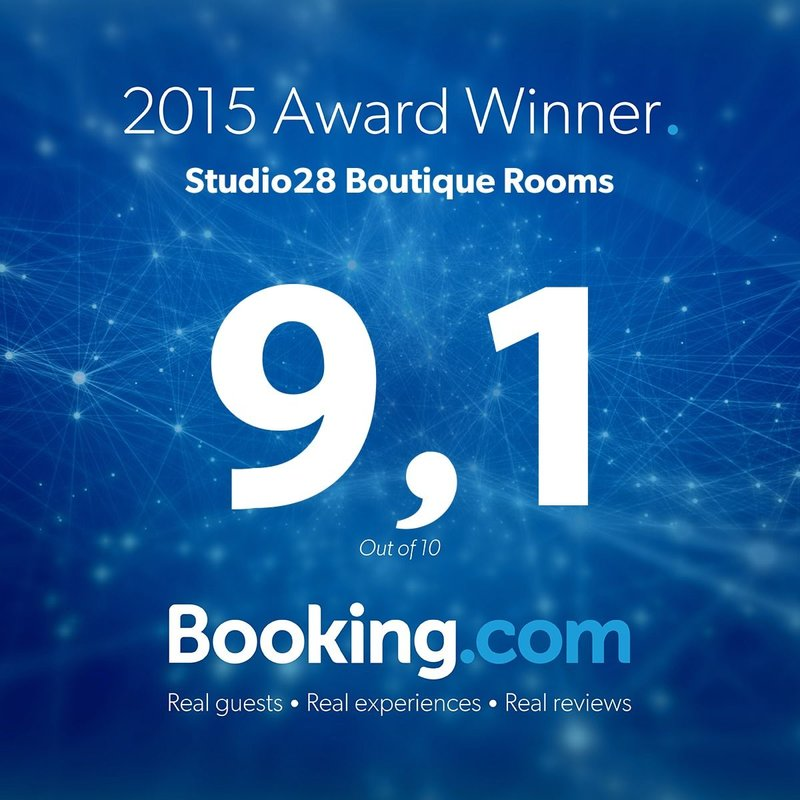 studio28 Boutique Rooms Booking.com Guest Review Award 2015