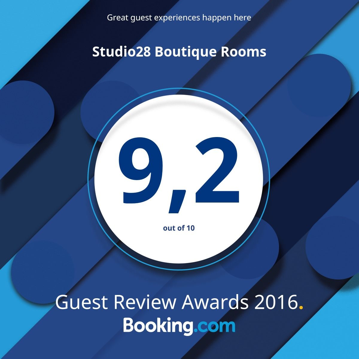 Studio28 Boutique Rooms Booking.com Guest Review Award 2016