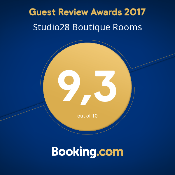 Studio28 Boutique Rooms Booking.com Guest Review Award 2017